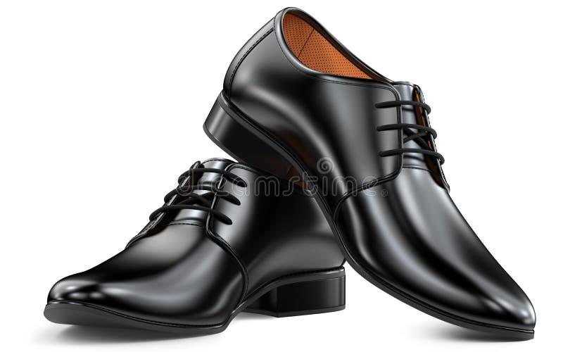 Noir de chaussures de mode du ` s d'hommes, conception classique Paires du rendu viril des bottes 3d d'isolement sur le fond blan illustration libre de droits