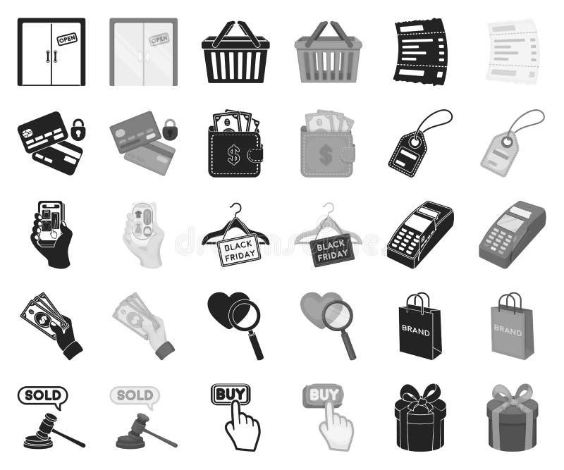 Noir de commerce électronique, d'achat et de vente, icônes monochromes dans la collection réglée pour la conception Actions de sy illustration libre de droits
