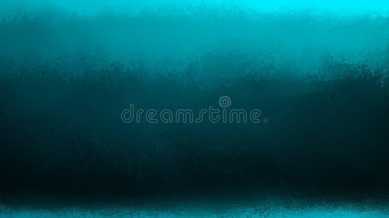 Noir de gradient et fond bleu avec les frontières lumineuses et le vieux grunge de texture de cru illustration de vecteur