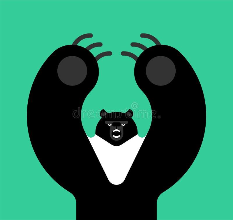 Noir de l'Himalaya d'ours Style d'isolement mauvais de bande dessinée de bête grandes attaques prédatrices sauvages illustration de vecteur