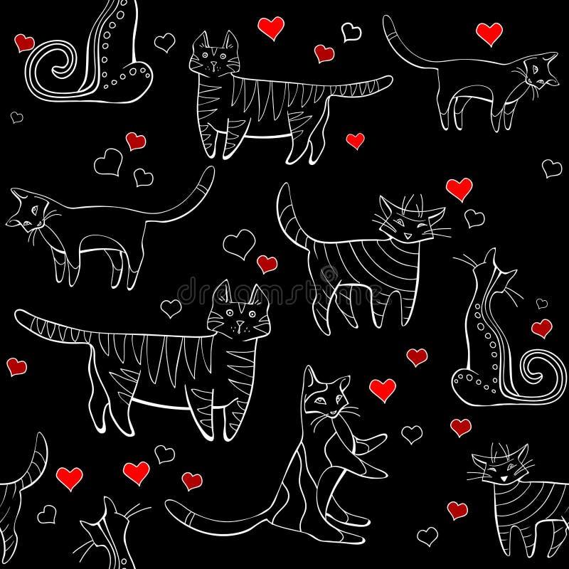Noir de modèle de chats wall-paper, groupe de différents chats sur un fond noir dans différentes poses avec des coeurs illustration libre de droits