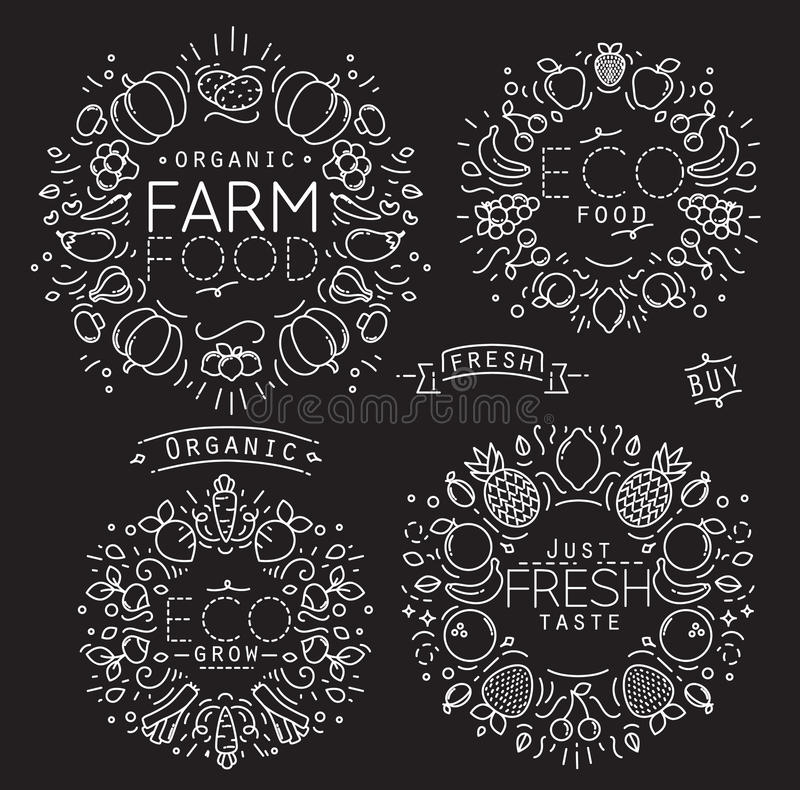 Noir de monogramme de légumes fruits illustration stock