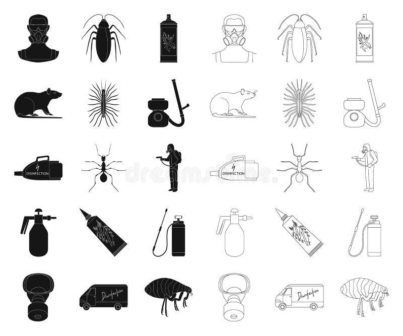Noir de parasite, de poison, de personnel et d'équipement, icônes d'ensemble dans la collection réglée pour la conception Vecteur illustration libre de droits