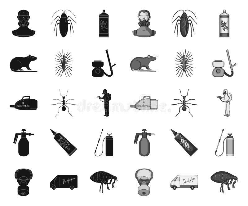 Noir de parasite, de poison, de personnel et d'?quipement ic?nes mono dans la collection r?gl?e pour la conception Symbole de vec illustration de vecteur