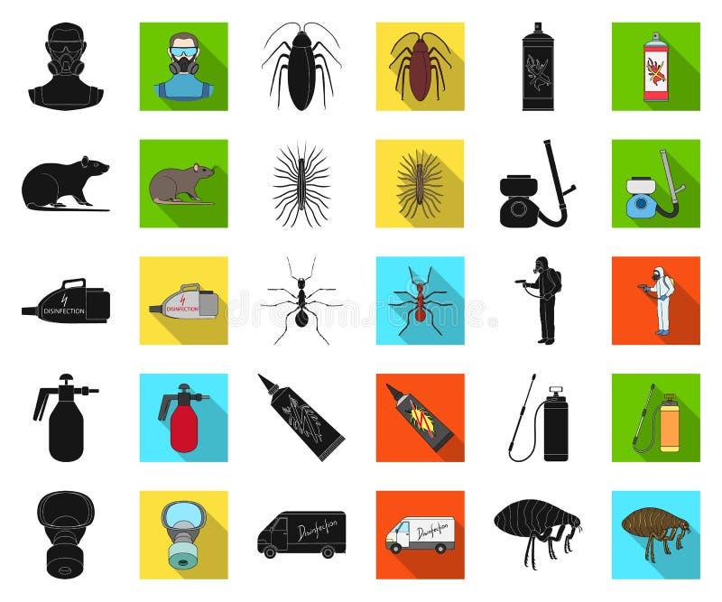 Noir de parasite, de poison, de personnel et d'équipement, icônes plates dans la collection réglée pour la conception Symbole de  illustration stock