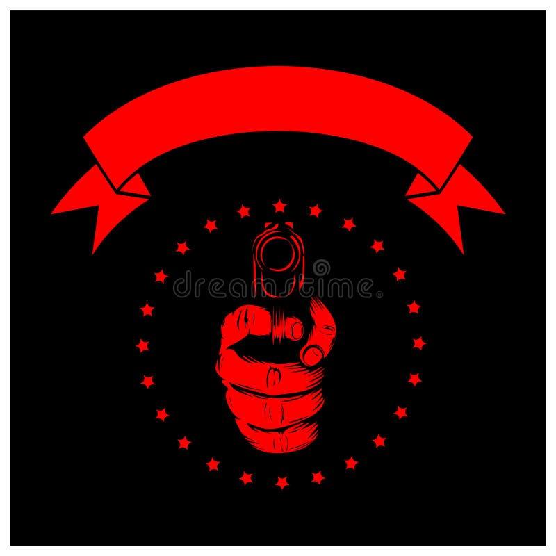 Noir de pistolet de main illustration stock