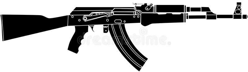 Noir de Riffle AK47 d'assaut de Rusian - illustration de vecteur illustration libre de droits