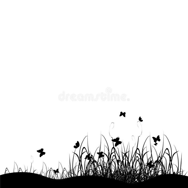 Noir de silhouette d'herbe illustration de vecteur