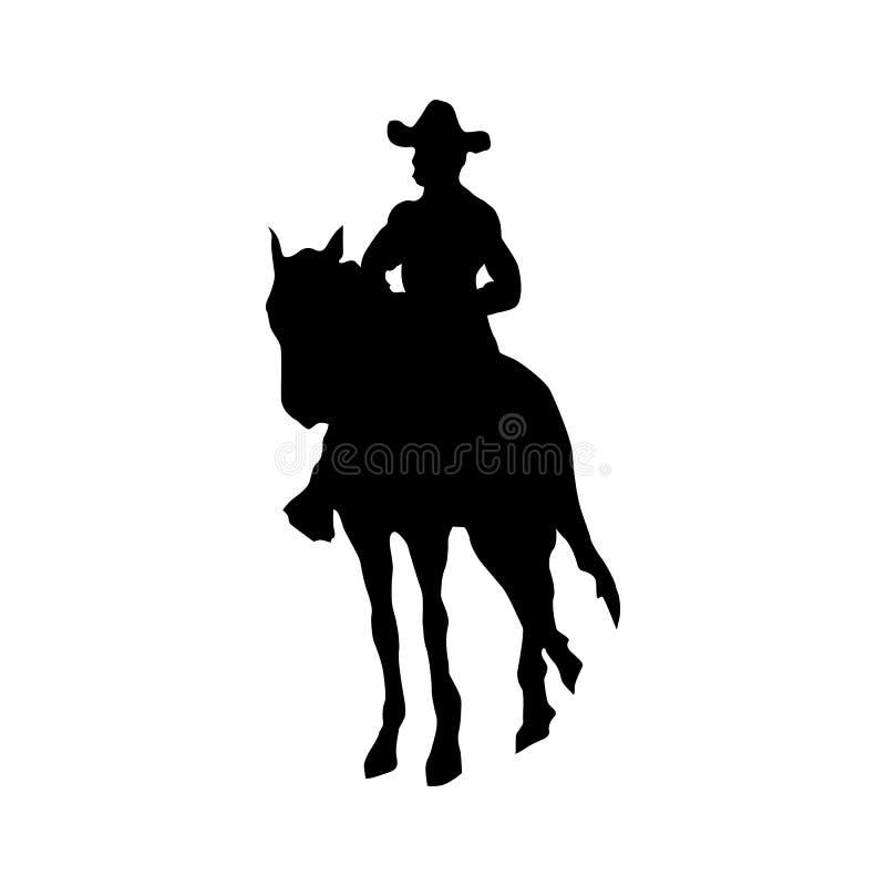 Noir de silhouette de cowboy illustration de vecteur