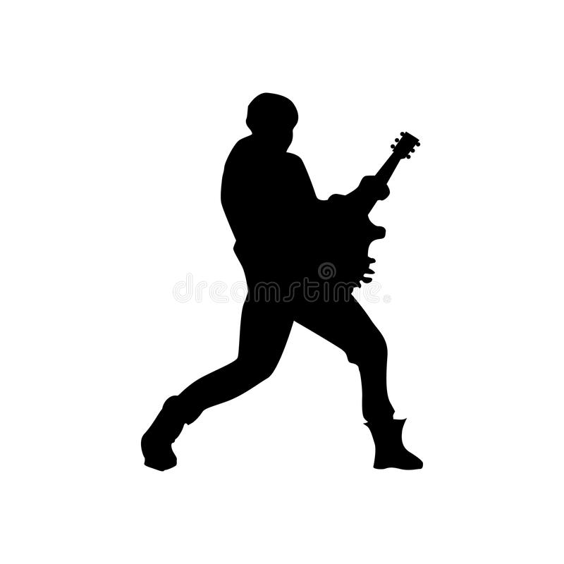 Noir de silhouette de guitariste illustration stock