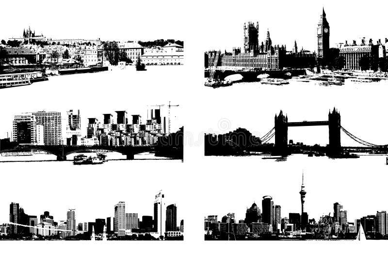 Noir de silhouette de paysage urbain illustration stock