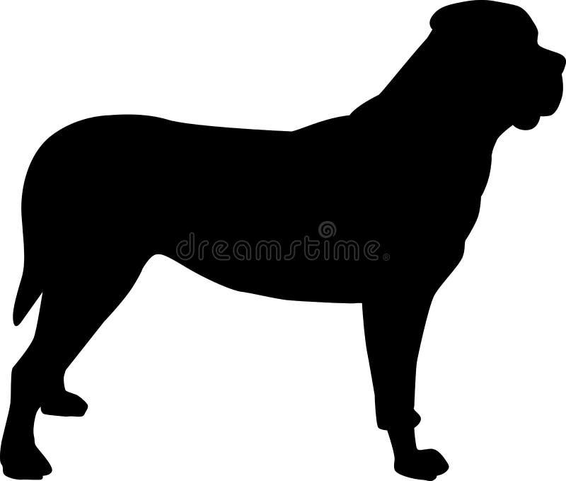 Noir de silhouette de mastiff illustration libre de droits