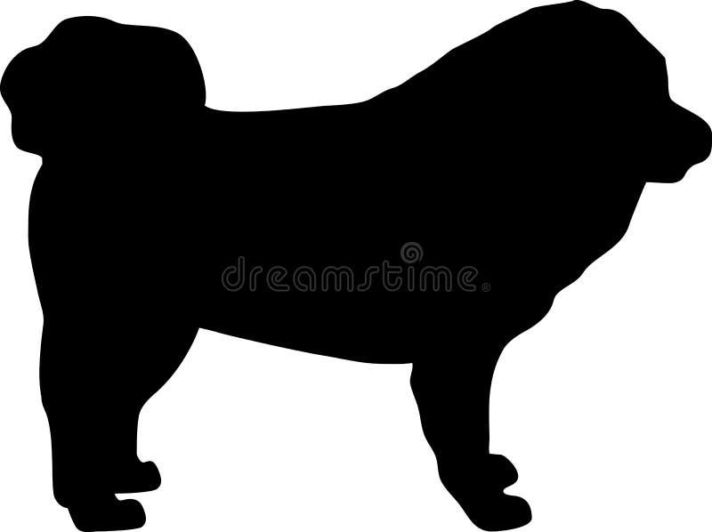 Noir de silhouette de mastiff tibétain illustration de vecteur