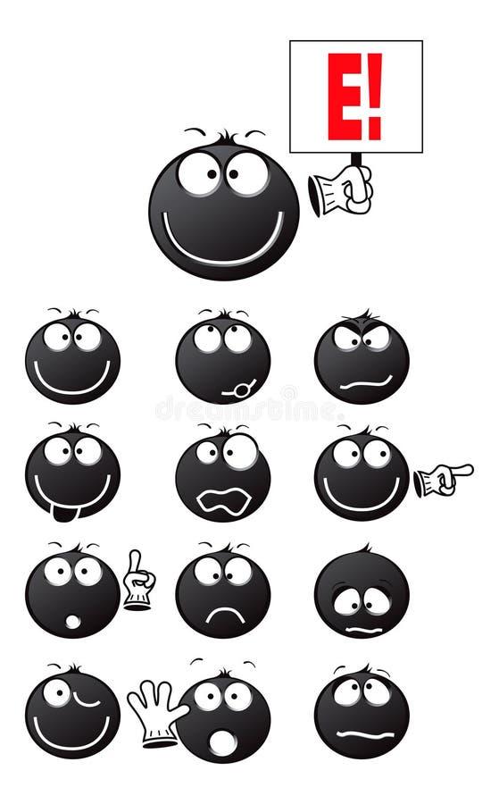 Noir de sourire illustration stock