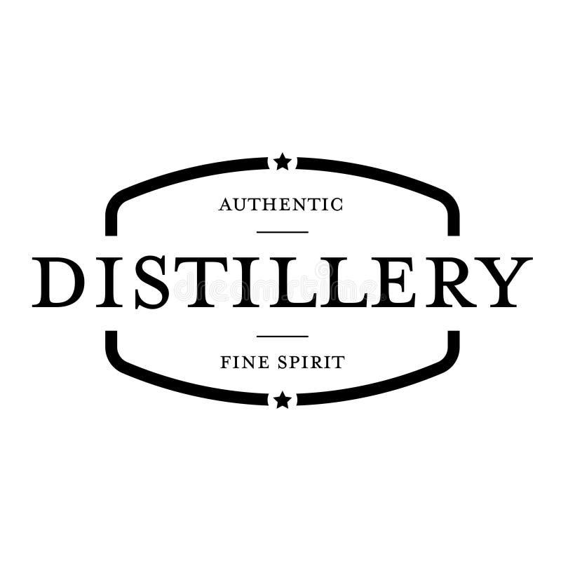 Noir de timbre de vintage de distillerie illustration stock