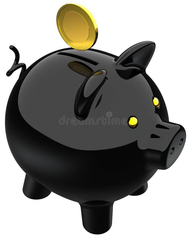 Noir de tirelire et une pièce de monnaie d or