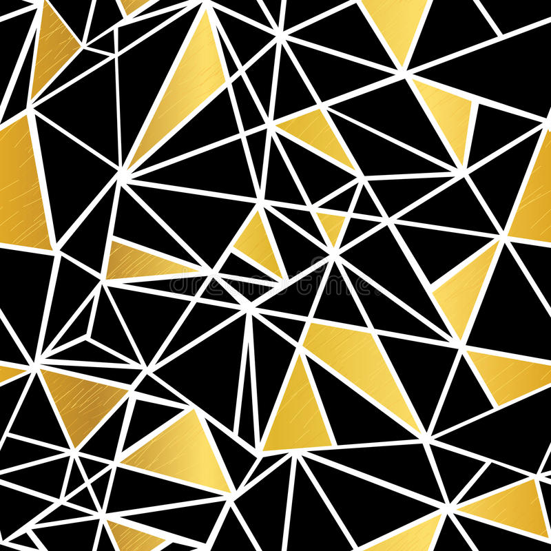 Noir de vecteur, blanc, et fond sans couture de modèle de mosaïque de feuille d'or de répétition géométrique de triangles Peut êt illustration stock