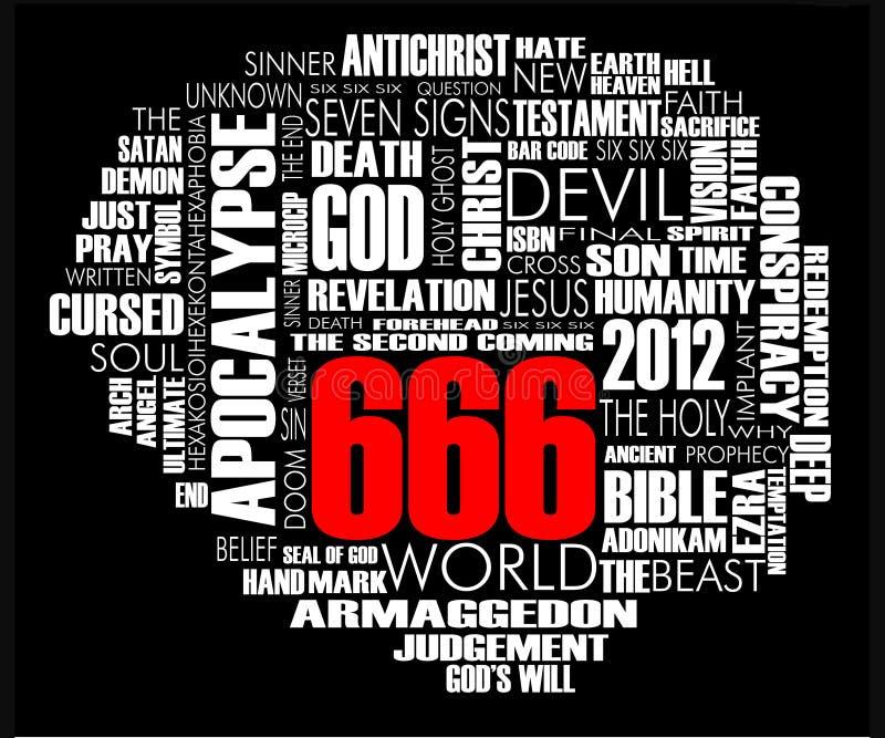 Noir de vecteur de nuage de 666 mots illustration libre de droits
