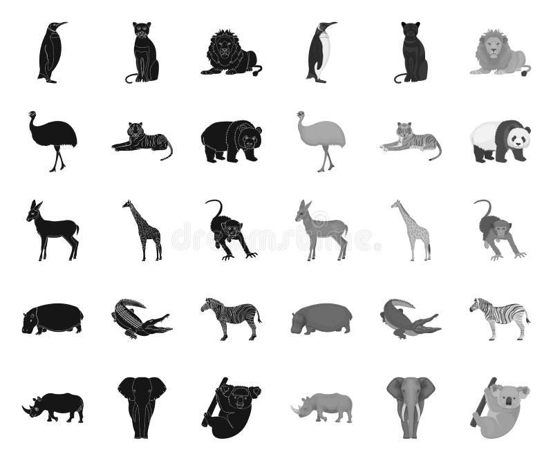 Noir diff?rent d'animaux ic?nes mono dans la collection r?gl?e pour la conception L'oiseau, le pr?dateur et l'herbivore dirigent  illustration de vecteur