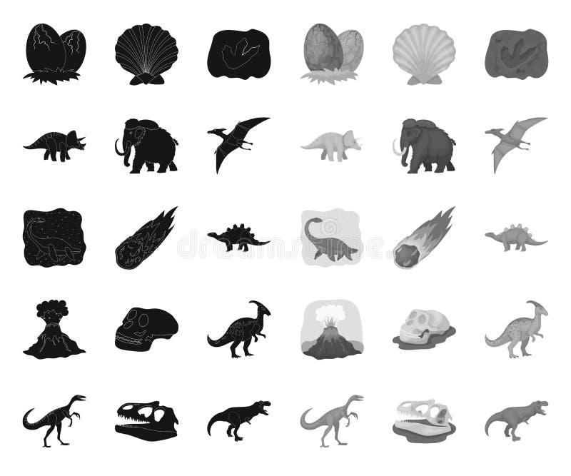 Noir diff?rent de dinosaures ic?nes mono dans la collection r?gl?e pour la conception Web animal pr?historique d'actions de symbo illustration stock