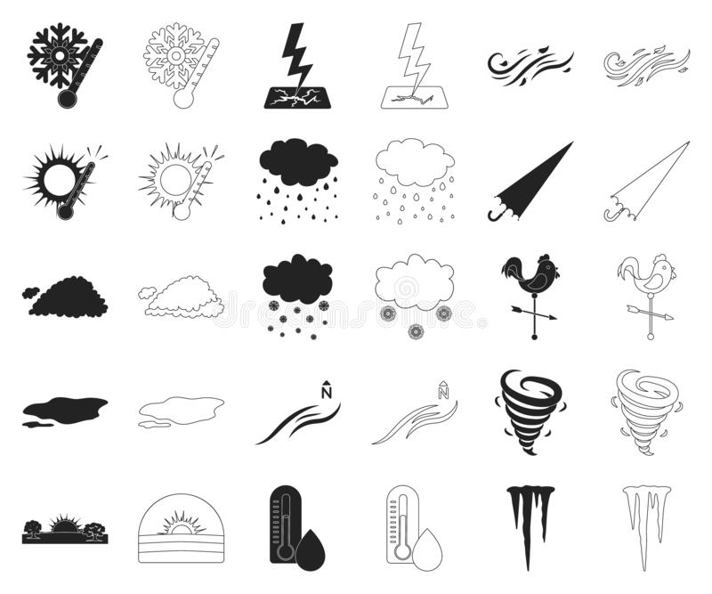 Noir différent de temps, icônes d'ensemble dans la collection réglée pour la conception r illustration libre de droits