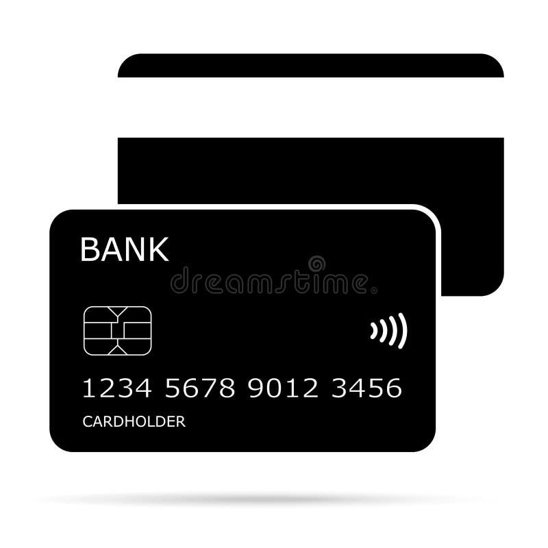 Noir et écrire le vecteur de carte de crédit d'icône illustration de vecteur