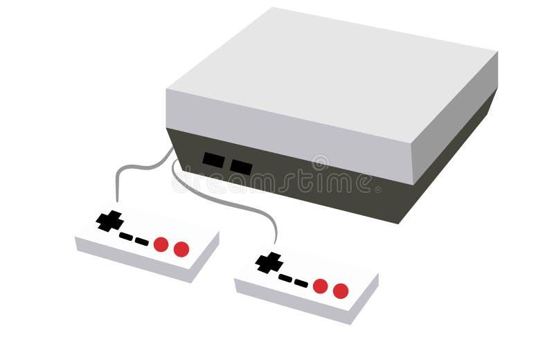 Noir et blanc avec une console tridimensionnelle rectangulaire de jeu d'antiquité de vintage de vieux rétro hippie gris avec deux illustration de vecteur
