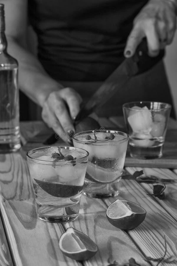 Noir et blanc, barmaid, barre, partie, femme, préparant le cocktail photos stock