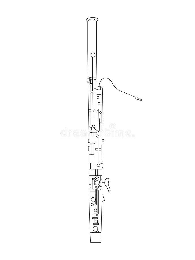 Noir et blanc dessin de schéma d'illustration de basson illustration libre de droits