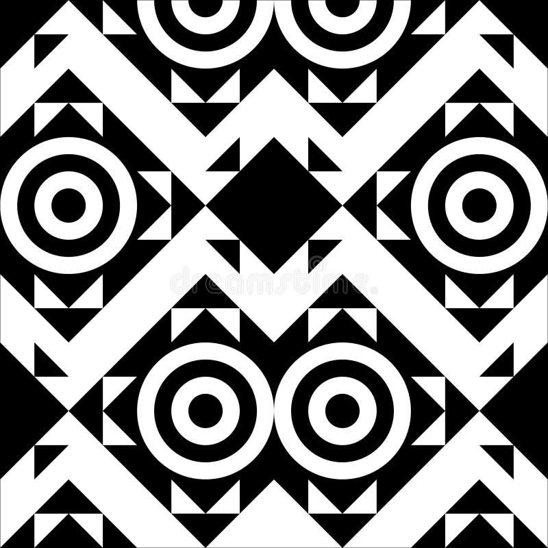 Noir-et-blanc-géométrique-sans couture-modèle-de-triangle-et-cercle-provision-vecteur-illustration illustration de vecteur
