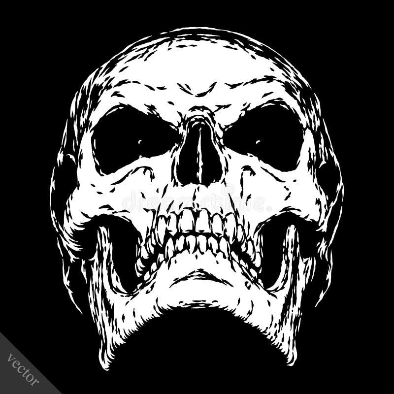 Noir et blanc gravez le visage mauvais de crâne de vecteur illustration de vecteur