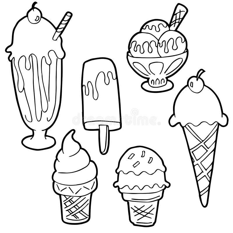 Noir et blanc réglé de bande dessinée de crème glacée  illustration stock