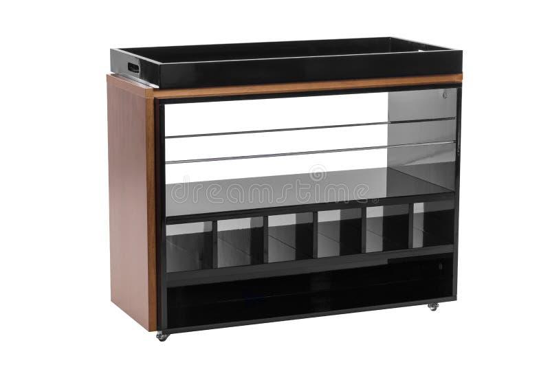 Noir et bois de buffet d'isolement sur le blanc photos stock