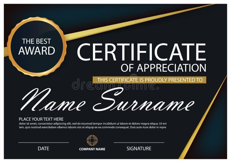 Noir et certificat horizontal d'élégance d'or avec l'illustration de vecteur, calibre blanc de certificat de cadre avec le style  illustration libre de droits
