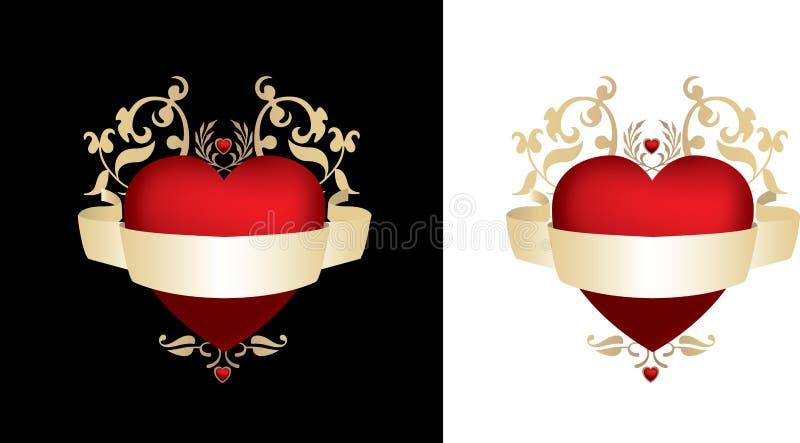 Noir et coeur d'or illustration stock