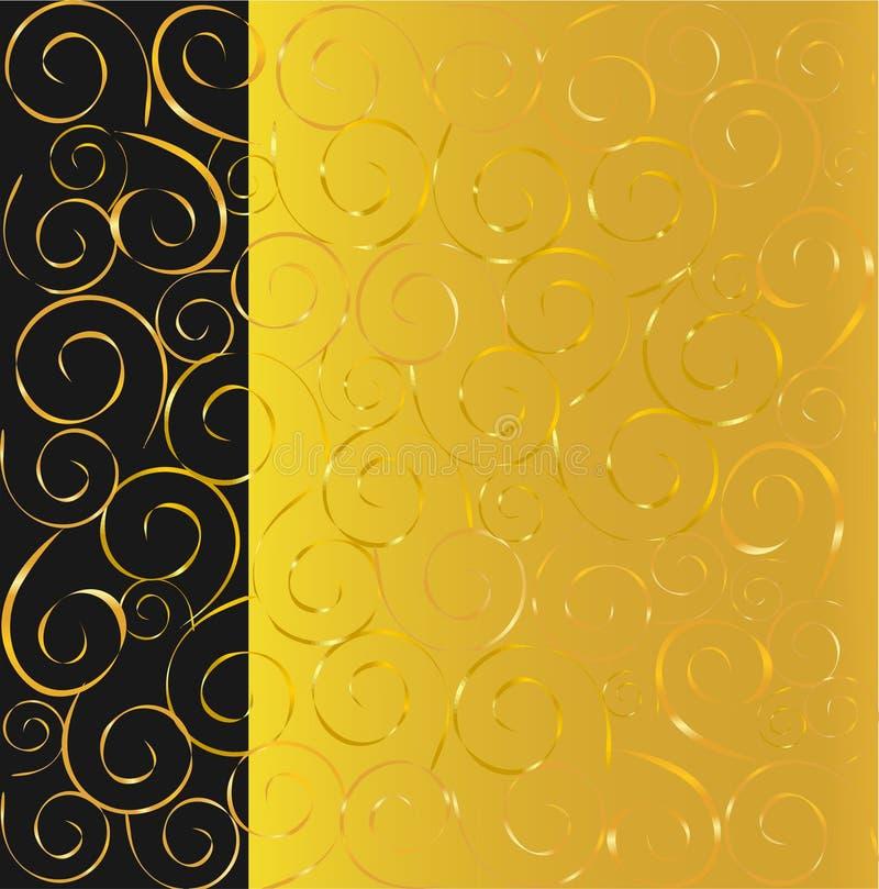 Noir et fond d'or illustration stock