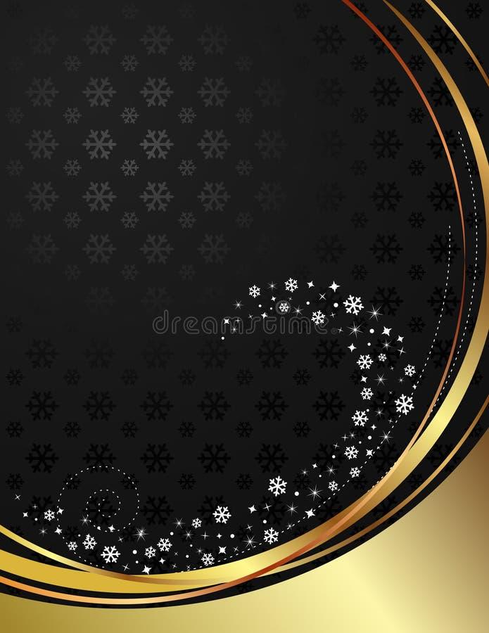 Noir et fond d'or avec des flocons de neige. illustration stock