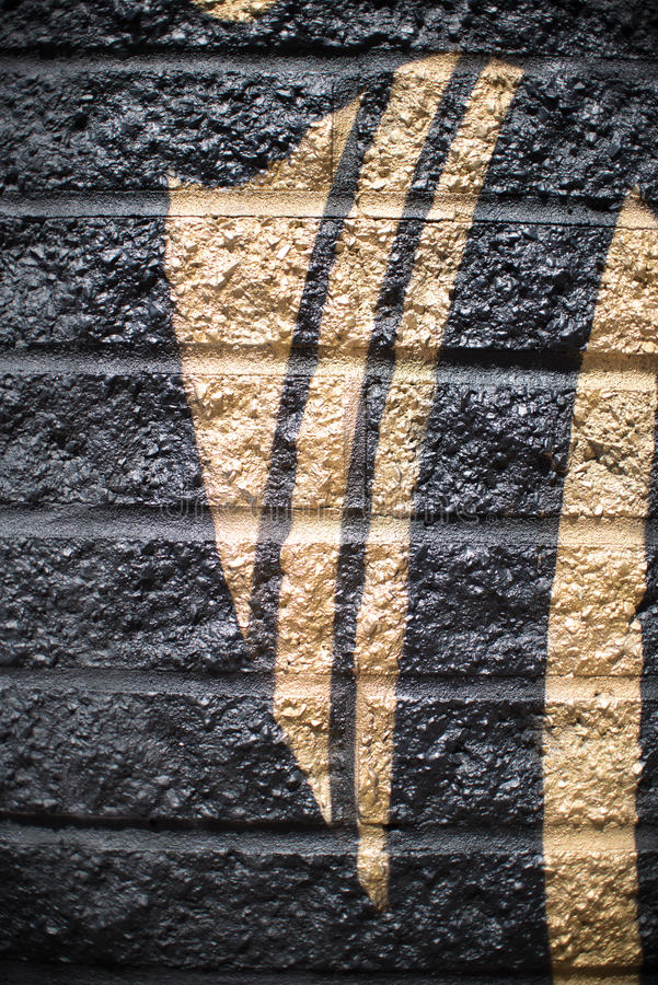 Noir et or Gray Brick Wall Background argenté image stock