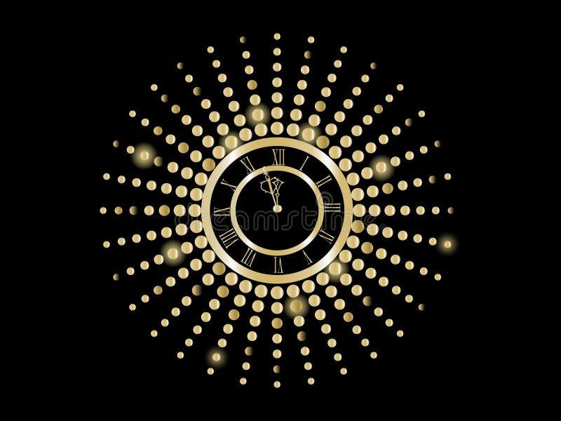 Noir et horloge d'an neuf d'or illustration de vecteur