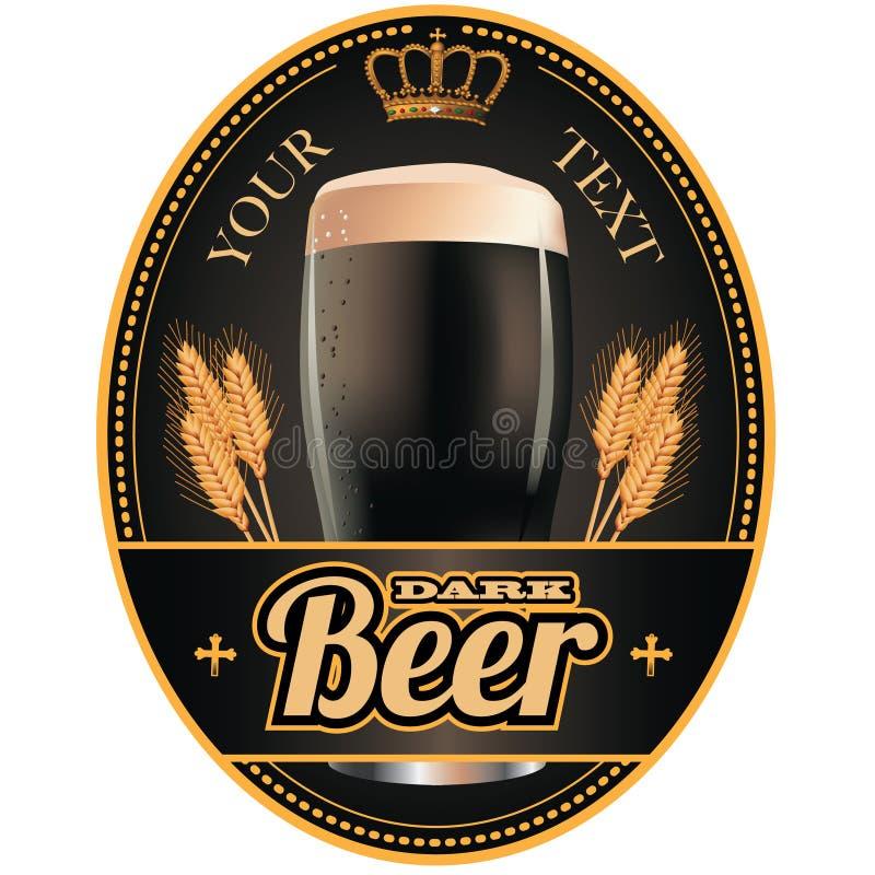 Noir et label de bière d'or illustration stock