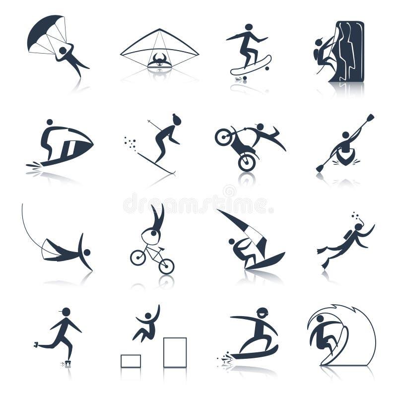 Noir extrême d'icônes de sports illustration stock