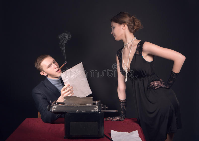 Download Noir Film Journalist And The Girl Stock Photo - Image of hand, nicotine: 29559794