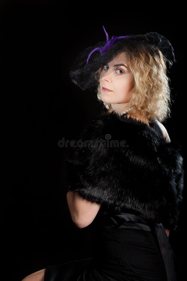 Noir flickapäls för Retro film royaltyfria bilder