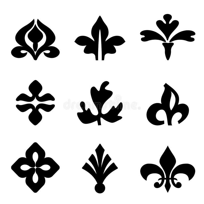 Noir floral décoratif d'éléments de vecteur pour la conception illustration stock