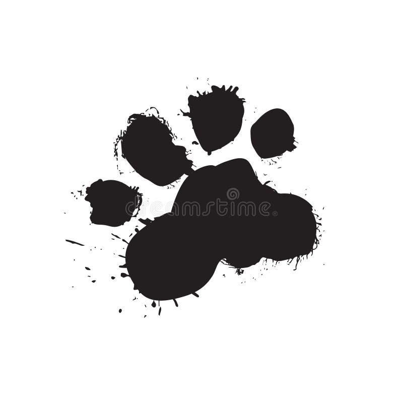 Noir grunge Paw Isolated On White Background d'impression de pied de chien illustration de vecteur