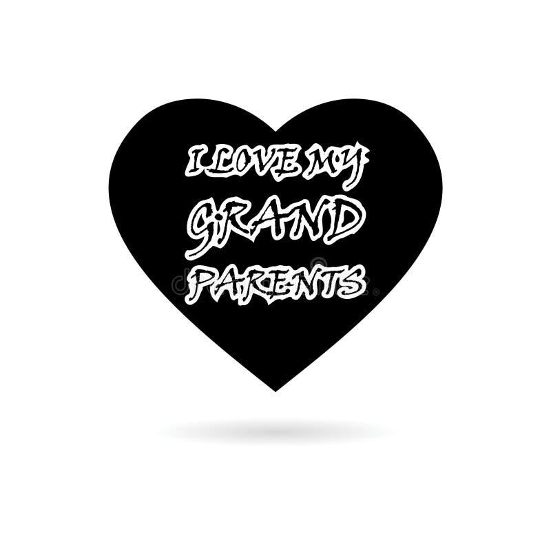 Noir j'aime mon icône ou logo de conception de célébration de grands-parents illustration libre de droits