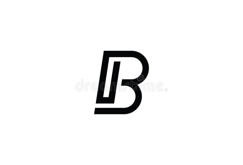Noir Logo Design de la lettre B d'alphabet illustration stock