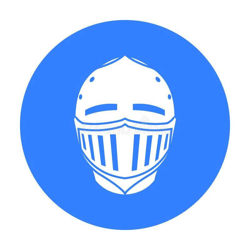 Noir médiéval d'icône de casque Icône simple d'arme des grandes munitions, bras réglés illustration de vecteur