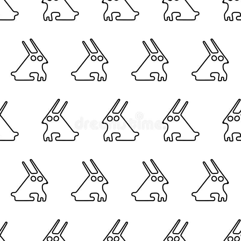 Noir modèle sans couture de lapin de symbole graphique à traits illustration stock