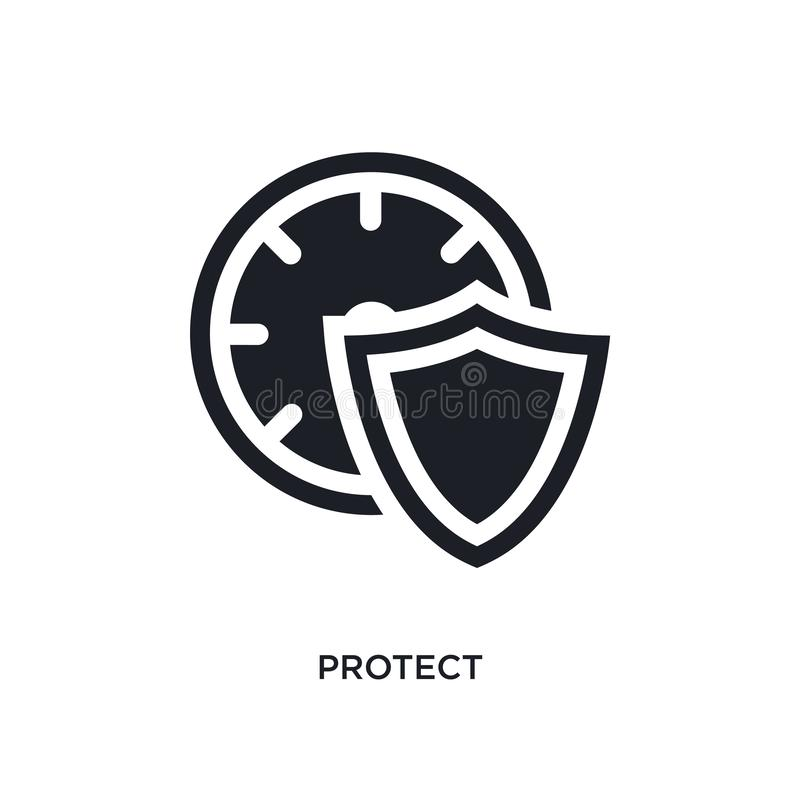 noir protéger l'icône d'isolement de vecteur illustration simple d'élément des icônes de vecteur de concept de gestion du temps p illustration stock